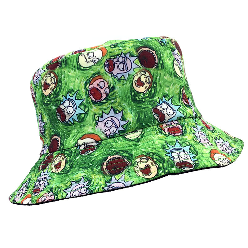 Two Side Reversible Rick And Morty  Bucket Hats Fishing Caps Women Men Costume Anime Bob Hat Summer Fashion Panama  Lovers Hat