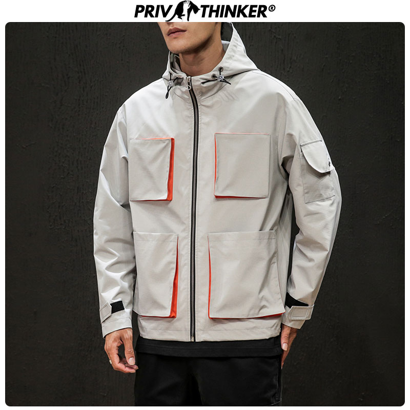 Privathinker Men's Safari Style Loose Big Pockets Jackets Men Zipper Autumn Windbreak Coat Male Oversize Hip Hop Hooded Jacket
