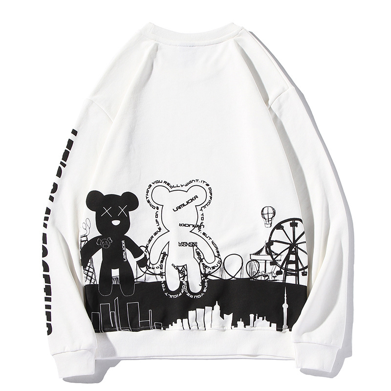 2019 Autumn New Style Cartoon Violence Panda Printed Hoodie Fashion Men And Women Couple Clothes Oversize Large Size Tops