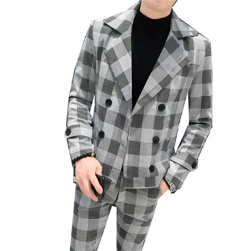 Men's Autumn And Winter Double-breasted Plaid British Wind Slim Suit 2 Sets / High Quality Men's High-end Blazer (coat + Pants)