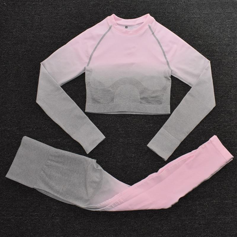 ShirtsPantsPink - Women's Sportwear Seamless Fitness Gradient Yoga Set