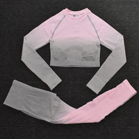 ShirtsPantsPink - Women's Sportwear Seamless Fitness Gradient Yoga Set