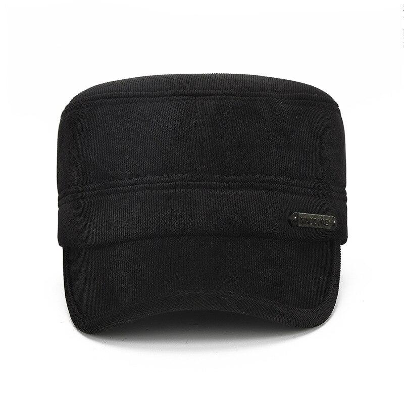 Hat Earmuffs Winter Outdoor Cotton Thick Warm Men Flat-Cap Cold-Middle-Aged-Cap Corduroy
