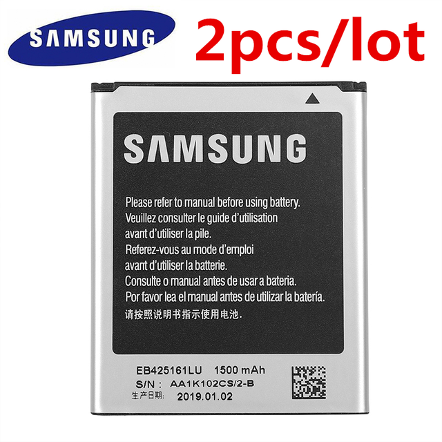 2pcs/lot SAMSUNG Battery EB425161LU For Samsung GT S7562L S7560 S7566 S7568 S7572 S7580 i8190 I739 I8160 S7582 SM J105H J1 MINI