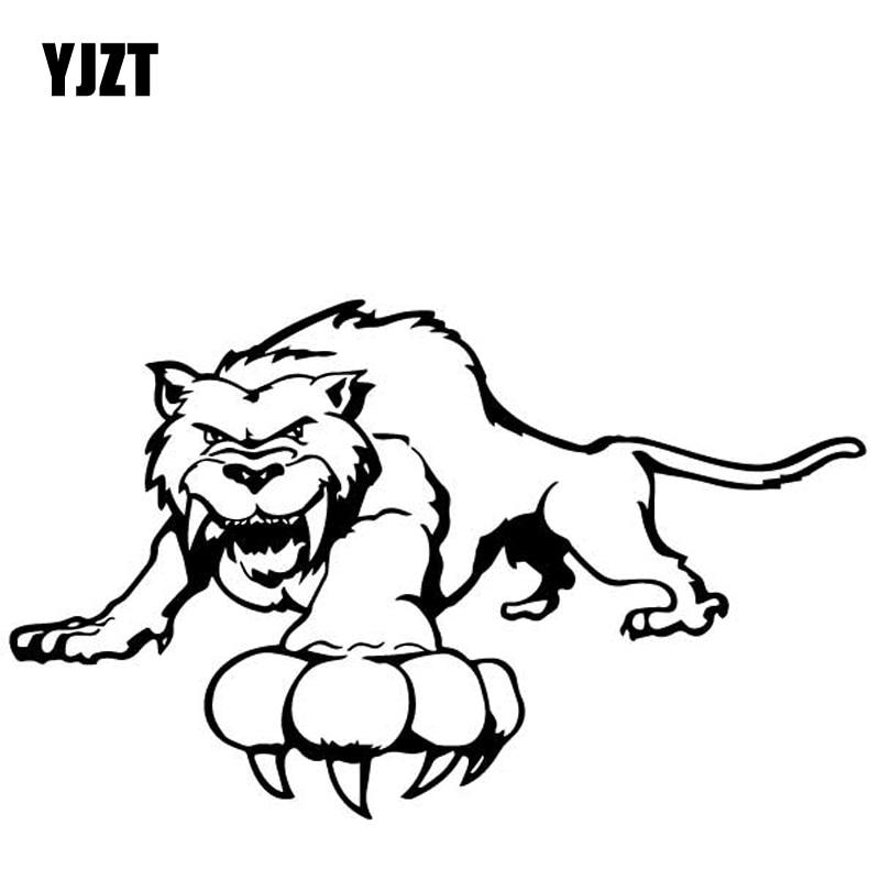 YJZT 16.9CM*10.2CM Saber Toothed Tiger Decorative Pattern Car Sticker Bumper Vinyl Decal Black/Silver C4-2621
