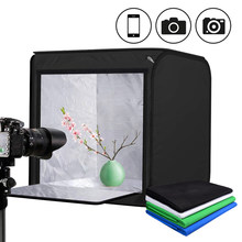 60*60cm 24inch Photo Studio Light Box Tent Softbox Dimmable LED Cube Tabletop Light Shooting Tent With 4 Color Cotton Backdrops