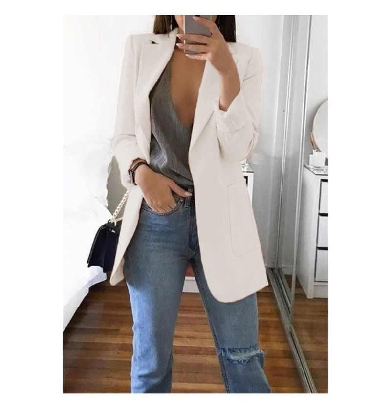 Wanita Blazer Panjang Musim Semi Musim Gugur 2019 Tipis Lebih Tahan Dr Elegan Mantel 2 Kantong OL Cocok Mantel Wanita Wanita Blazer dan Jaket