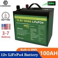 Batterie ricaricabili 12V 100Ah LiFePo4 200Ah batterie ricaricabili al litio impermeabili BMS integrate per batteria RV per barche EU nessuna tassa