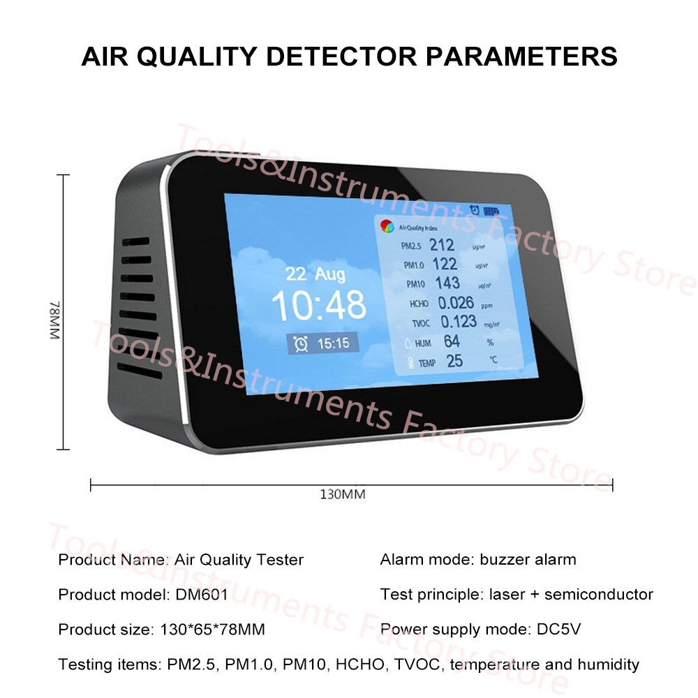 HCHO PM1.0 PM2.5 PM10 TVOC Formaldehyde Air Quality Detector Temperature Meter Hygrometer English LCD Display USB charging