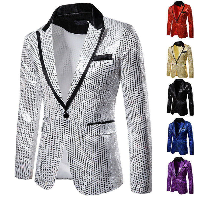 2020 Hot Men Shiny Gold Sequin Glitter Embellished Blazer Jacket Nightclub Blazers Wedding Party Suit Stage Singers Clothes