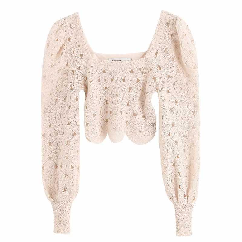 新しい女性のセクシーな中空アウト刺繍レースショートブラウスランタンスリーブコートシャツ女性のレトロな正方形の襟シュミーズトップスは LS4037
