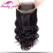 Fg brasileiro onda do corpo cabelo humano laço frontal encerramento 360 parte livre 100% remy cabelo humano com linha fina natural 8-22 polegadas