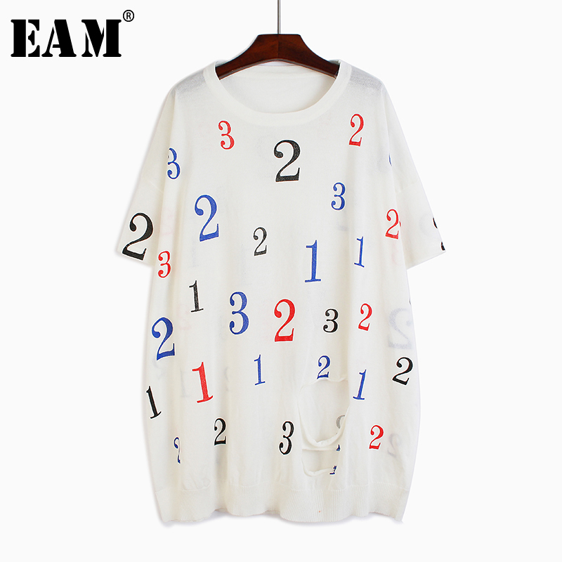 [EAM] Women White Letter Printed Knitting Big Size Thin T-shirt New Round Neck Half Sleeve  Fashion  Spring Summer 2020 1T590
