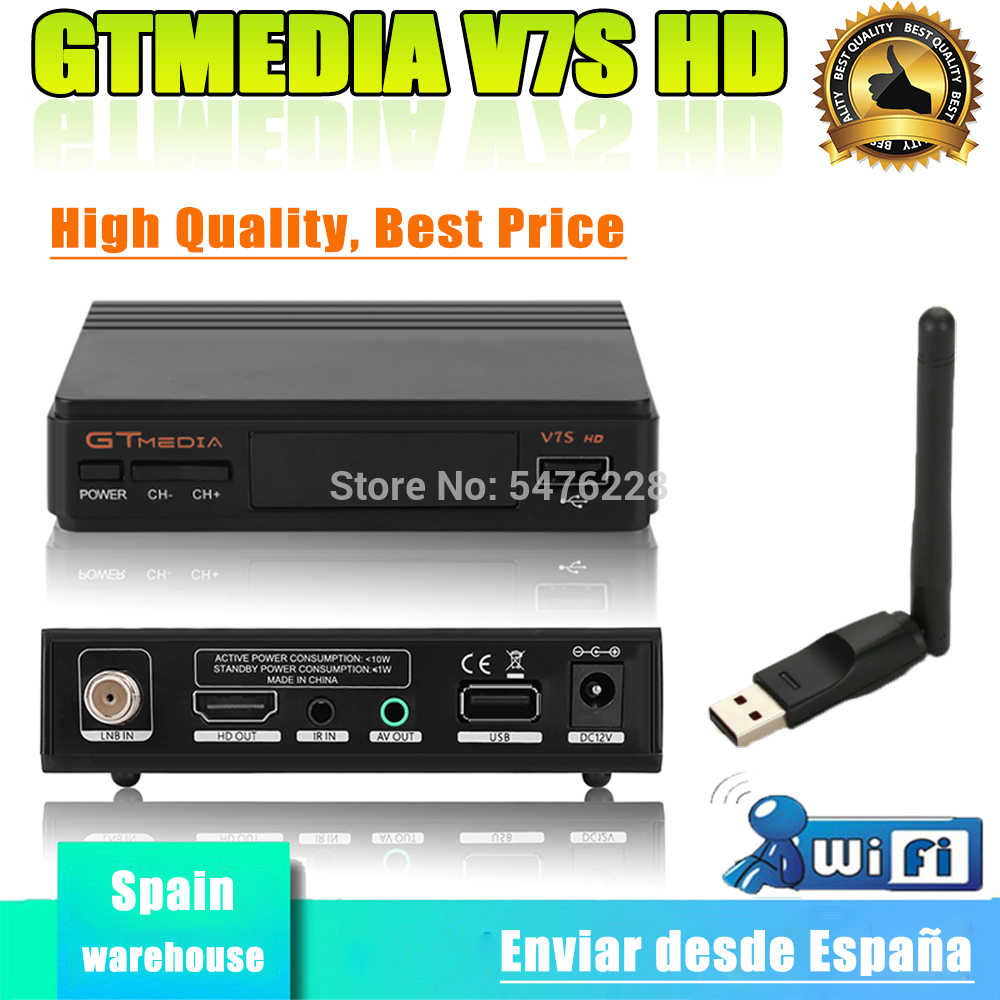 DVB-S2 Gtmedia V7s Hd Receptor H.265 Gt Media V7s Inclusief Usb Wifi Hd 1080P Power Door Freesat V7 Satelite decoder