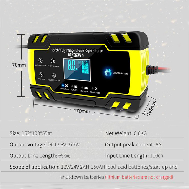 12V-24V 8A Full Automatic Battery-chargers Digital LCD Display Car Battery Chargers Power Puls Repair Chargers Wet Dry Lead Acid