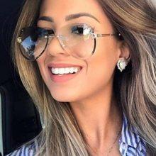 Gafas de sol clásicas de estilo aviador para mujer, anteojos de sol de estilo piloto sin montura, a la moda, 3025