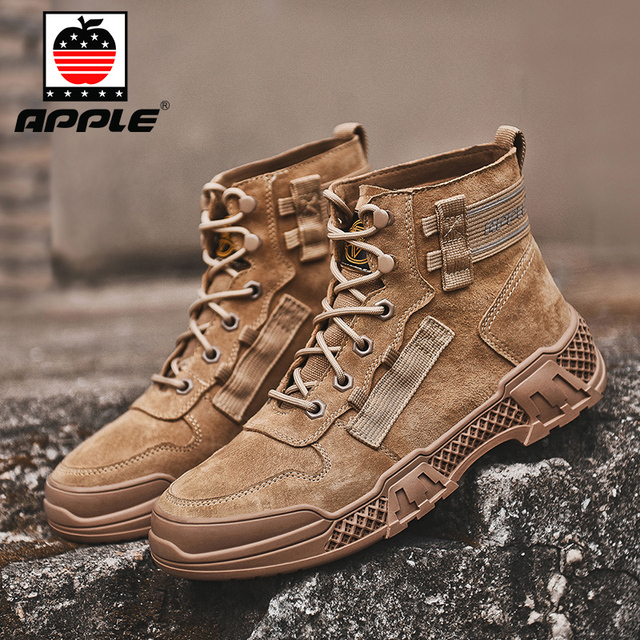 Купить мужские кожаные ботинки apple бренда новые модные высокие для картинки цена