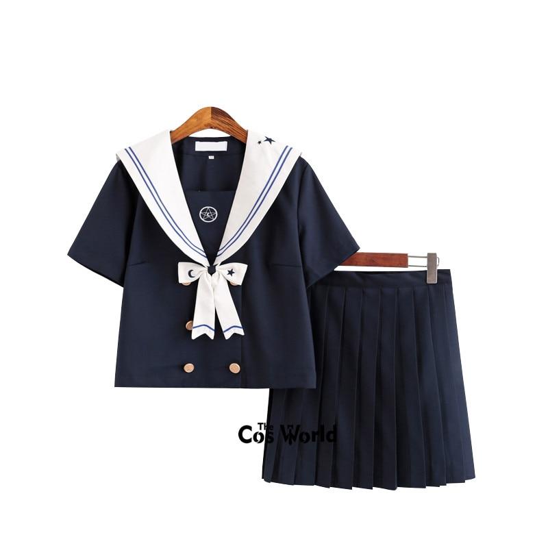 Starmoon Fantasy Navy Blue Summer Navy Sailor Suit Tops Skirts JK High School Uniform Class Uniform Students Cloth