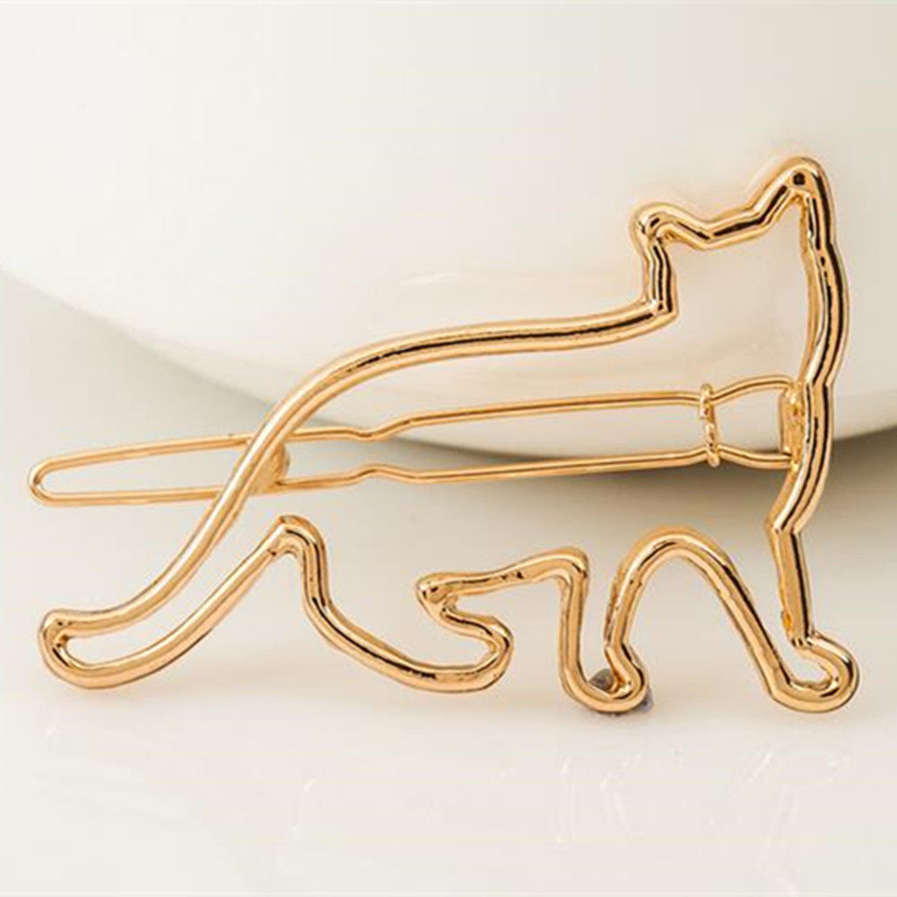 Cute Cat Hair Clips Animal Hollow Cat Hairclip Hairpins For Girls Silver Gold Korean Hairgrip Hair Accessories New Arrival