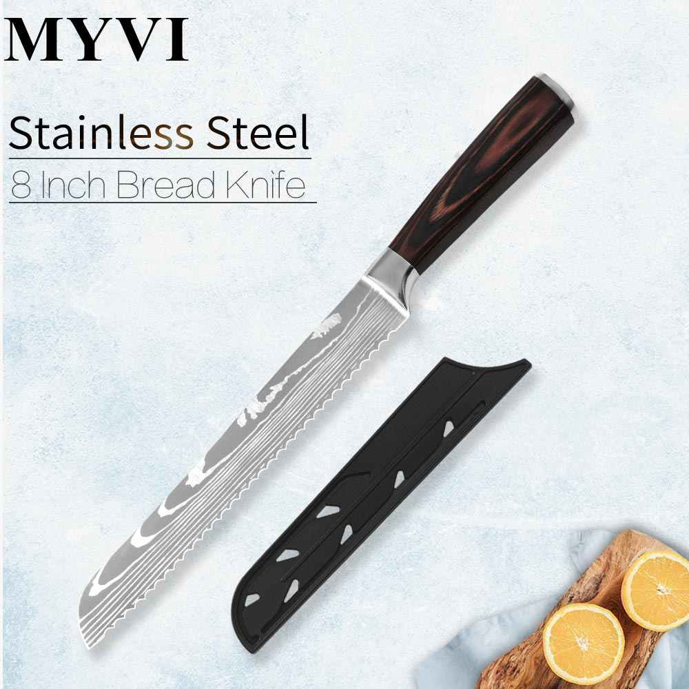 MYVI 8 Inch Bread Knife 7Cr17 Stainless Steel Good Quality Kitchen Serrated Bread Knives With Color Wood Handle PP Knife Cover