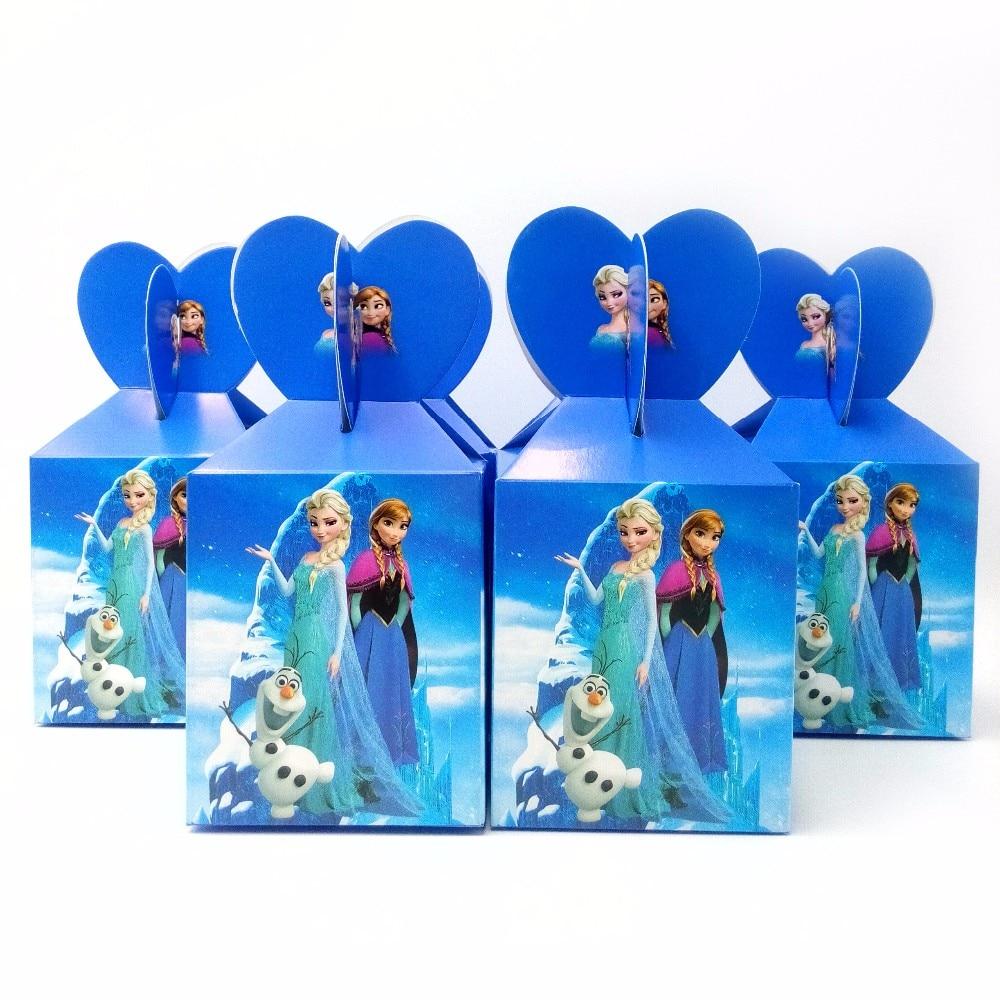 Caixa de papel frozen da disney, caixa de papel para decoração de feliz aniversário com 12/24/36/48 peças suprimentos para festa de crianças