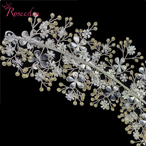 Image 5 - エレガントな花嫁クリスタルヘッドバンドラインストーンティアラヘアバンドかぶと女性手作りウェディングヘアアクセサリーRE3538