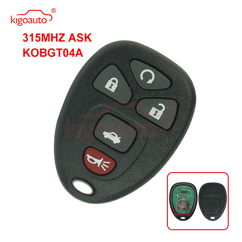 Kigoauto Remote Fob 5 Button 315Mhz 22733524 For Chevrolet Pontiac G5 G6 Saturn Aura Sky 2008 2009 Remote Control KOBGT04A Key