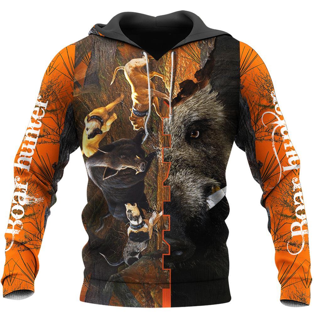 Animal Boar Hunter Orange New 3D Printed Mens Hoodie Harajuku Sweatshirt Unisex Casual Jacket Pullover sudadera hombre KJ063