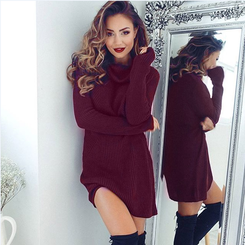 Womens Casual Long Sleeve Jumper Turtleneck Sweaters Coat Blouse