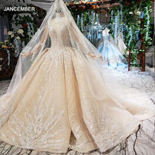 HTL462 vestido de fiesta de princesa, vestidos de boda de manga larga con cuello redondo y apliques de champán, vestidos de boda de encaje con velo de novia