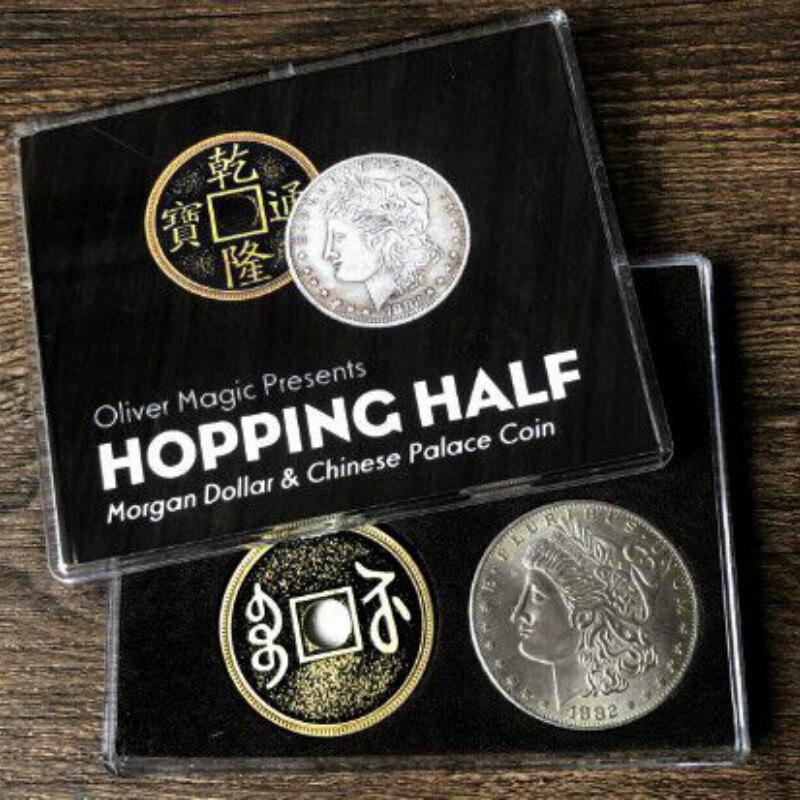 Hopping metade (dólar morgan e moeda do palácio chinês) por oliver magic perto truques de magia moeda mágica adereços mágico mágico gimmick diversão