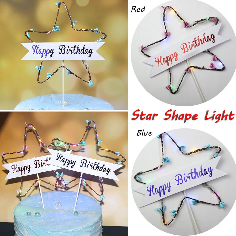 Lovely DIY Star Shape LED Lights Cake Topper for Anniversary Happy Birthday Party Wedding Cupcake Glitter Gift Decorations in Cake Decorating Supplies from Home Garden