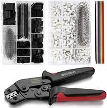 Crimper de catraca do jogo de ferramentas de friso com 1550 pces 2.54mm conectores dupont e 760 pces 2.54mm JST-XH conectores para awg 26-20