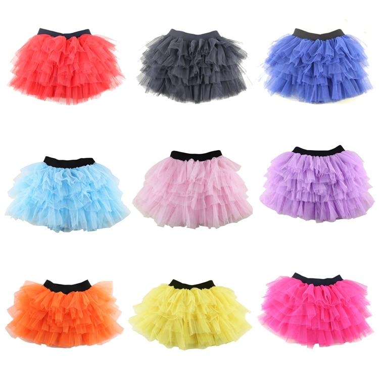 New Black Color Cotton Tulle Skirt Baby Girl Skirts Toddler Kids Tutu Skirts 3-8 Years Pettiskirt