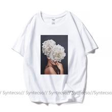 Эстетическое сексуальный Леди цветок печати t-рубашка женщины 100 хлопок Леди тройник рубашка короткий рукав плюс размер графический Белый t рубашка пара