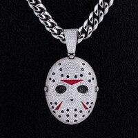 DNSCHIC Horror Halloween Pendant Mens Iced Out Custom Pendant Jason Voorhees Mask Pendant Custom Hip Hop Pendant Rapper Gift