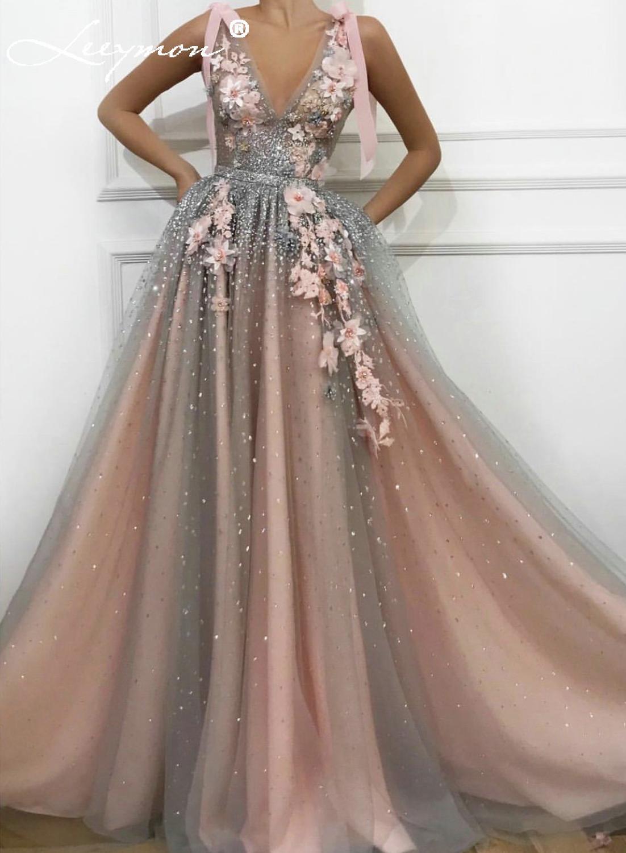V Neck Sleeveless Shiny Glitter   Evening     Dresses   Design Handmade Flowers Pearls A-Line   Evening   Gowns 2019 New