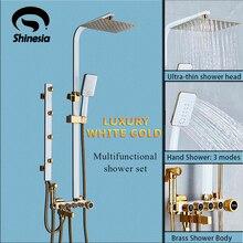 高級ホワイトゴールドシャワー蛇口セットで 5 機能スイッチ壁レインシャワーヘッドマウントハンドシャワーバスタブスパウトビデタップ