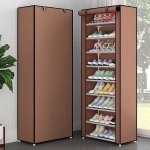 Image 4 - Simple Non woven Cloth Fabric Dustproof Shoe Rack Folding Assembly Metal Shoe Rack Home Shoe Organizer Cabinet