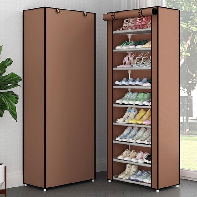 Simple Non-woven Cloth Fabric Dustproof Shoe Rack Folding Assembly Metal Shoe Rack Home Shoe Organizer Cabinet 3