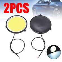 цена на Universal 2pcs Car Round DRL Daytime Running Light Car Styling Auto Signal Lamp Day Light 12V COB LED Lights