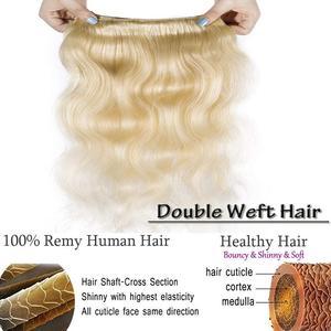 Promqueen 613 пучок бразильских человеческих волос пряди плетение Remy волос 30 32 38 40 дюймов длинные волосы пряди волнистые светлые пряди