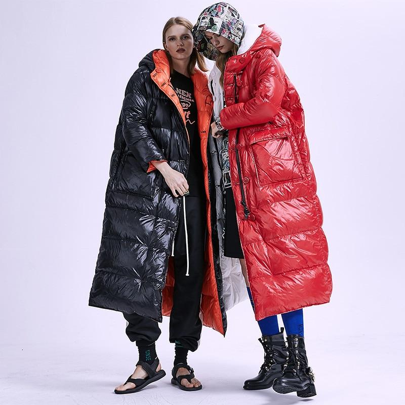 XS-7XL plus size Winter two sides wear thicker warm   Down     Coat   X-Long 90% White Duck   Coat   Female Hooded Outwear   Down   Parkas F123