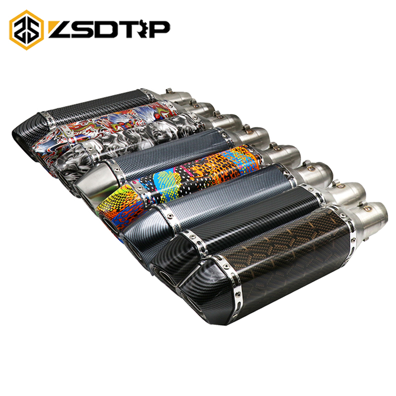 ZSDTRP Motorcycle Akrapovic <font><b>Exhaust</b></font> Moto Muffler Pipe Escape With DB killer 35-51mm Adapter For <font><b>cbr</b></font> 125 xmax <font><b>250</b></font> GY6 ZX6R image
