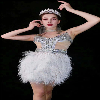 R21 Sexy singer stage costume white feather hip skirt performance evening mesh dress rhinestones outfit sleeveless crystal cloth - discount item  12% OFF Stage & Dance Wear
