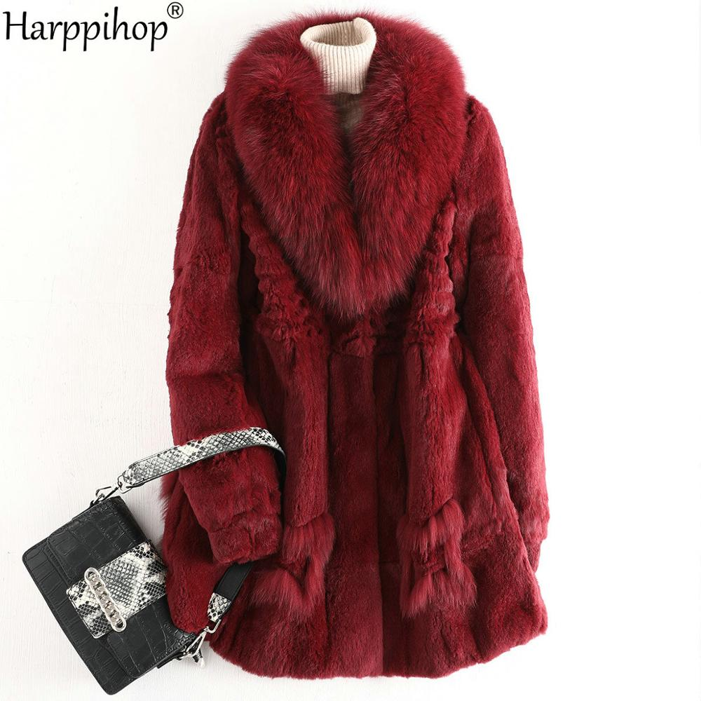 2020 Real Fur Coat Winter Jacket Women Natural Rex Rabbit Fur Long Overcoat Big Fox Collar Streetwear Thick Warm Outerwear