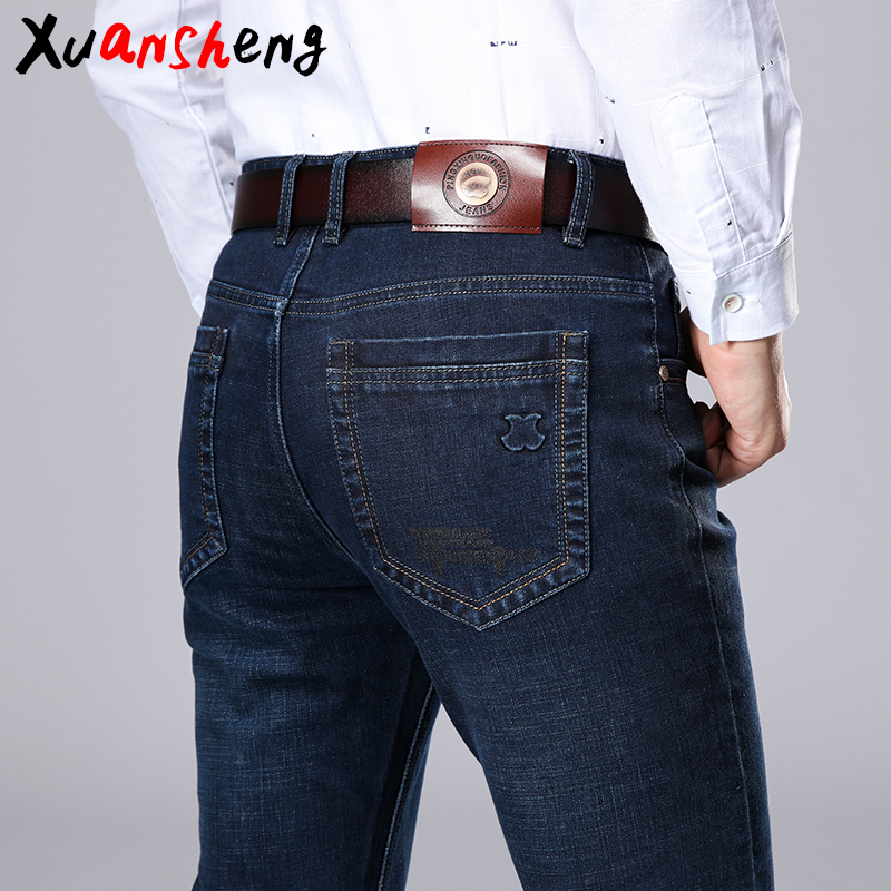 Xuansheng brand men's straight jeans 2020 new summer business work casual stretch slim jeans classic pants blue black long jeans