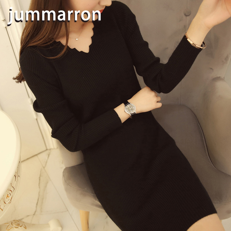 junmmarron 2020 Korean version v-neck knitwear slimmed-down women's mid-length sleeve top bottom shirt long-sleeved <font><b>dress</b></font> image