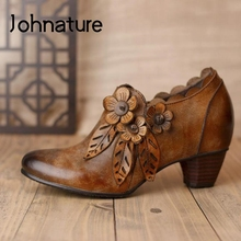 Shoes Retro Genuine-Leather Johnature Pumps Women High-Heels Casual Zip Flower Handmade