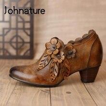 Trajnatural sapato de couro legítimo retrô, calçado feminino com zíper redondo e flor, novo outono 2021
